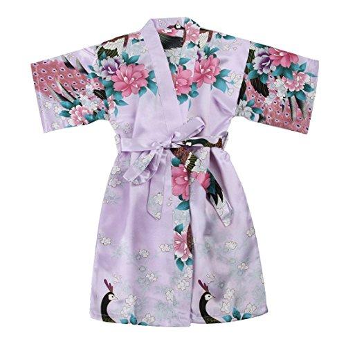 Toddler Girls' Satin Kimono Robe Peacock Blossoms Bathrobes Weeding Gown SFA Wedding Birthday Ages 1-12 (Lavender, Size 2: 1-2 Years)]()