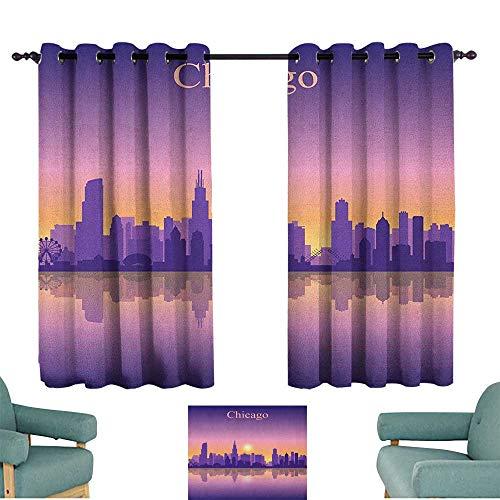 Chicago Skyline,Kids Decor Curtain Sunset in Illinois American Horizon Behind High City Silhouettes 42