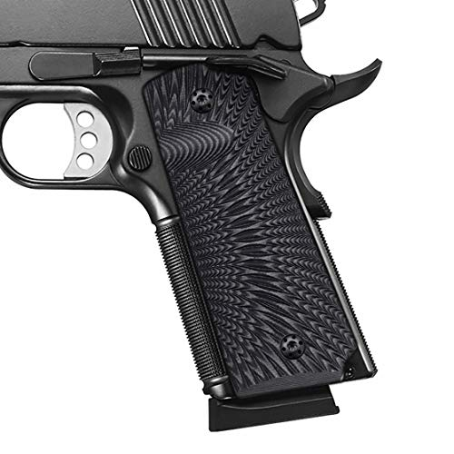 Cool Hand 1911 Full Size G10 Grips, Free Screws Included, Mag Release, Ambi Safety Cut, Sunburst Texture, Brand, Light Grey/Black