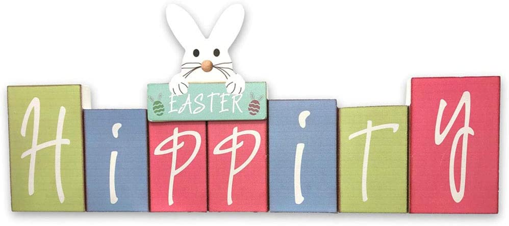Bunny Rabbit Classroom Desk Mantle Decor Easter Hippity Bunny Holiday Sign Party Decoration or Table Topper Party Supply