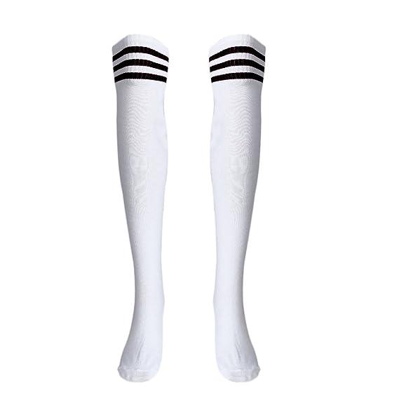 DOGZI Mujer Moda Calcetines largos de fútbol sobre la rodilla a rayas Otoño e invierno Sobre
