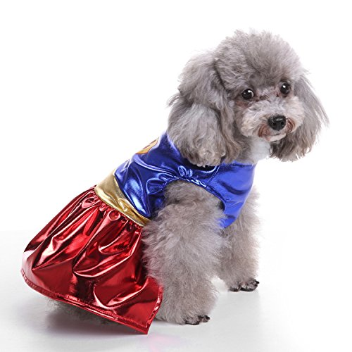 Pictures Of Superwoman Costumes (KeeKit Dog Puppy Pet Cat Cosplay DC Hero Super Women Dog Palm Halloween Festival Skirts Clothes Costume (X-Large))