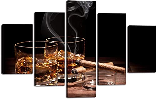 Canvas Wall Art Cigar and Wine Painting Glass of Wine Whiskey Cigarette Picture 5 Panels Liquor Still Life Posters Prints Wood Artwork Home Decor