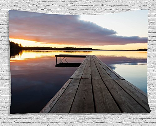 House Decor by Ambesonne, View of Sunset over an Old Oak Deck Pier and Romantic Love Calm Water of the Lake Horizon Serenity , Wall Hanging for Bedroom Living Room ()