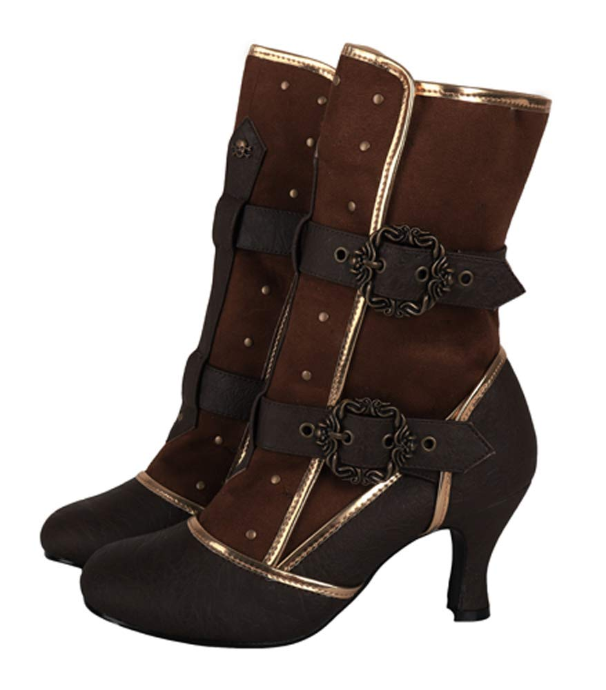 Steampunk Cosplay Vintage Style Victorian Queen Joan of Arc Halloween Costume Boots 3