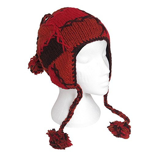 [Paper High Men's Funky Hand Knitted Patchwork Woollen Peruvian Style Earflap Hat One Size] (Ethnic Hats)