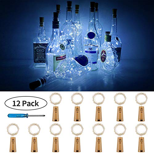 Cool Halloween Decoration (PCJHSP Wine Bottle Lights with Cork 12 Pack 15 LED Starry Fairy Lights Battery Operated Mini Copper Wire String Lights for Indoor and Outdoor Party Christmas Decoration Halloween Wedding-Cool)