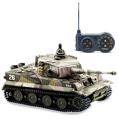 BlueFit German Tiger I Panzer Tank with Remote Control, Battery, Light, Sound, Rotating Turret and Recoil Action When Cannon Artillery Shoots, Mini 1:72 Scale, Assorted Color (Remote Control Army Tank)