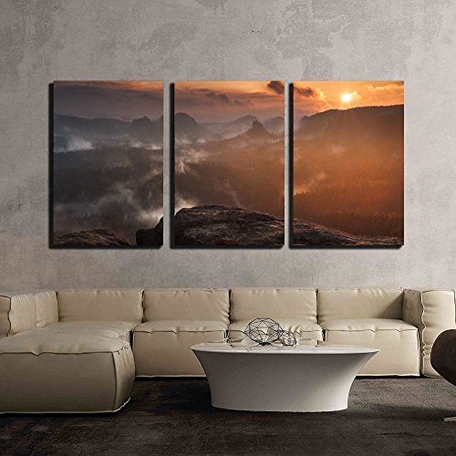 Nature Scenery of Mountain at the Sunrise x3 Panels