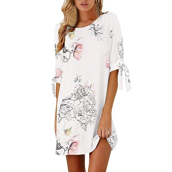 Vestidos Mujer Casual,Modaworld ❤ Mini Vestido Casual Floral Estampado para Mujer Vestidos de Fiesta Vestir de Playa señoras Vestido Elegantes de Noche: ...