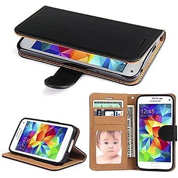 amazon com samsung galaxy s5 case s view flip cover folio, black