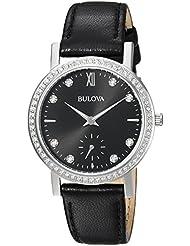 Bulova Womens 96L246 Swarovski Crystal  Black Strap Watch
