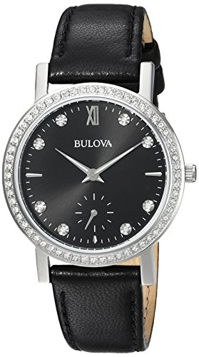 - Bulova Women's 96L246 Swarovski Crystal  Black Strap Watch