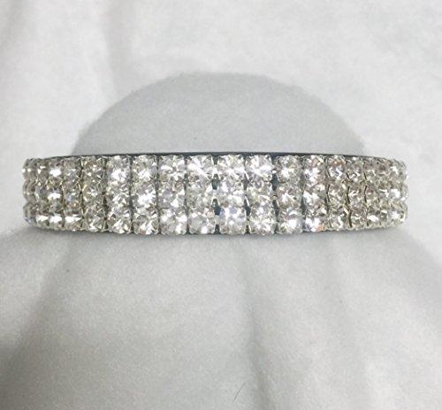 Sugarlicious Pets White Diamonds Galore!~ Crystal Diamante Rhinestone Dog Pet Collar WIDE with LARGE Stones USA (Medium)