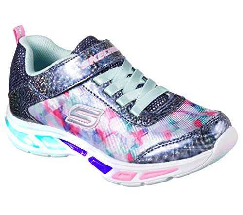 Skechers Kids Girls' Litebeams-Dance N'Glow Sneaker,Navy/Multi,1.5 Medium US Little Kid