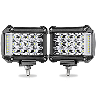 "Side Shooter LED Pods, OFFROADTOWN 2pcs 4"" 76W LED Work Light Bar Spot Flood Combo Driving Fog Lamp for off-road Truck Car ATV SUV Jeep Boat: Automotive [5Bkhe0111073]"