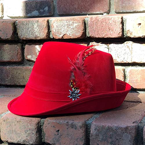 057c418b27242 German Hunter Red Hat Fedora with Edelweiss   Feather for Men and Women by  E.H.G.