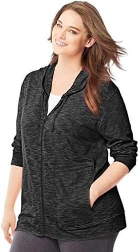 Just My Size Women`s Plus-Size Slub Jersey Full-Zip Hoodie