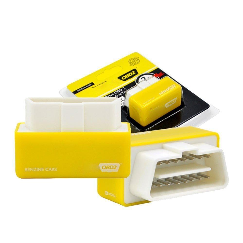 SODIAL Plug and Drive Nitroobd2 Performance Chip Box Ottimizzazione per Benzine Cars Nitroobd2 Gas Fuel Car Optimization Giallo