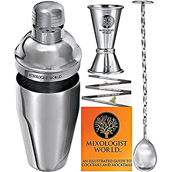 Cocktail Shaker Set Bartender Kit – Premium Bar Tools Accessories - 24 oz Martini Shaker Drink Mixer Bar Set Built-in Strainer with Jigger, Mixing Spoon and Recipes Guide - Great Drink Shaker Bar Kit