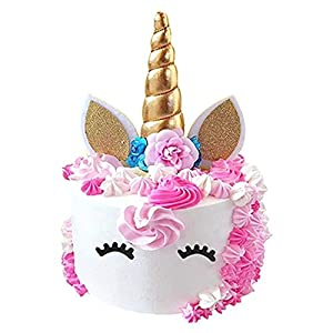 Unicorn Cake Topper, Reusable Unicorn Horn & Ears & Eyelashes and Flowers, Unicorn Party Cake Decoration for Birthday Party, Wedding, Baby Shower