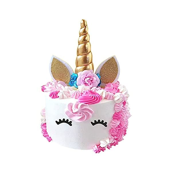 Unicorn Cake Topper, Reusable Unicorn Horn & Ears & Eyelashes and Flowers, Unicorn Party Cake Decoration for Birthday… 4