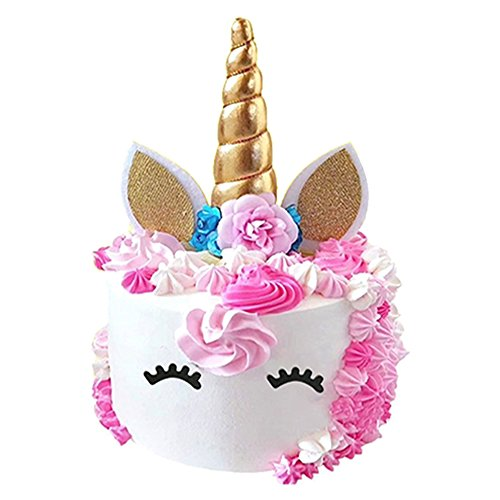 Unicorn Cake Topper, Reusable Unicorn Horn & Ears & Eyelashes and Flowers, Unicorn Party Cake Decoration for Birthday Party, Wedding, Baby Shower by TRAONOR (Image #1)