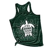Him Tak New Women's Vest Letters,SUNSHINE, Cartoon Print Sleeveless Shirt Loose Wild Casual Sports t-Shirt