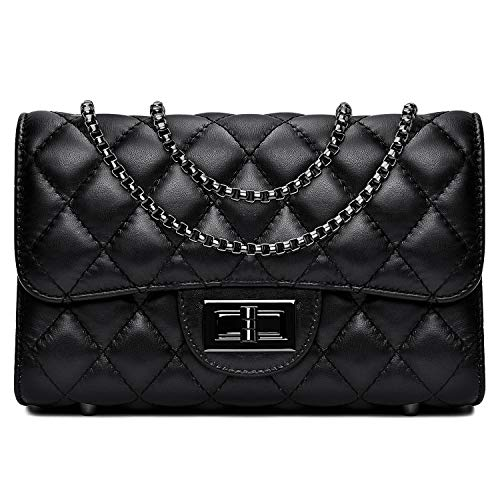(Women Quilted Crossbody Bag Genuine Leather Clutch Purse with Chain Strap Ladies Small Shoulder Handbags - Black)