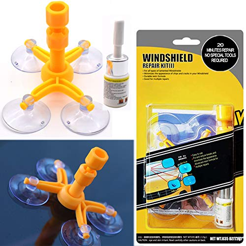 (Windshield Repair Kit, Professional Windshield Treatment Car Windshield Crack Repair Kit, Auto Windshield Chip Cracked Glass Repair Resin Fix Bullseye Crack, Rock Chip,Spider Web, Starburst, Half Moon)