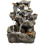 "33"" Granite Rock Waterfall Fountain: Outdoor Water Feature for Gardens & Patios. Features Stunning LED Light Accents."