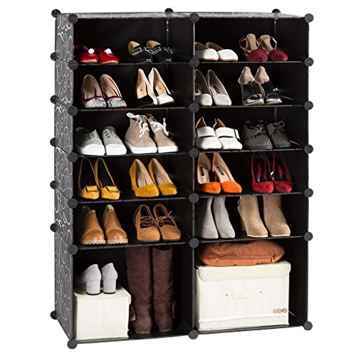 12-Cube DIY Shoe Rack Modular Organizer Plastic Cabinet by LANGRIA 6 tier Shelving Bookcase Cabinet Closet Black (12 - Regular Cube) (Bookcase Cabinets)
