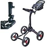 quad lite speakers - Bag Boy Quad XL 4-Wheel Golf Push Cart Black/Red with Free Bag Boy adjustable Umbrella Holder($30 Value)