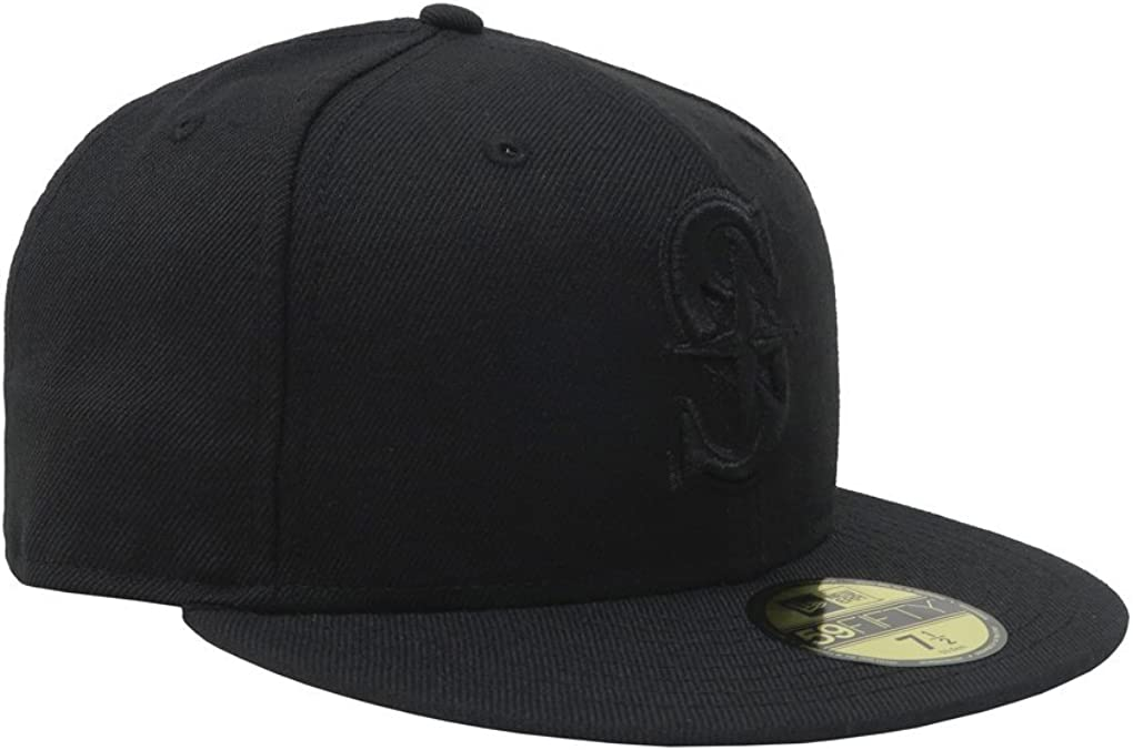 Mens Mariners Black on Black Fitted Hat