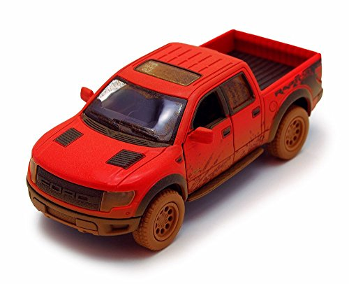 2013 Ford F-150 SVT Raptor SuperCrew Pickup Truck, Muddy, Red - Kinsmart 5365DY - 1/46 scale Diecast Model Toy Car