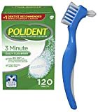Polident 3 Minute Quick Denture Cleaner 120 Tablets In Triplemint bundle with Dentu-Care Denture Brush for Maintaining Good Oral Care for Full Partial Dentures