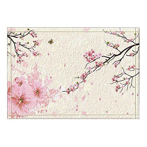 NYMB KOTOM Flower Decor, Butterfly Flying on Cherry Blossoms Bath Rugs, Non-Slip Doormat Floor Entryways Outdoor Indoor Front Door Mat, Kids Bath Mat, 15.7x23.6in, Bathroom ()
