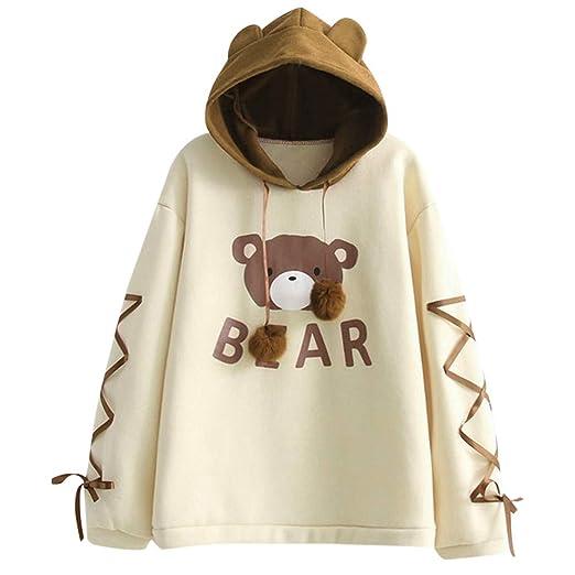 cc49d555cf431 Amazon.com  Women Wear A Bear Cap Top Long Sleeve with A Ribbon Hair Ball  Cute Sweater