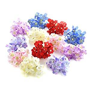 Artificial Hydrangea silk flowers Plant Wreath Fake Flower Heads in Bulk Wholesale for Crafts Home Wedding Decor Party Birthday Floral Decorations Popular Flowers 15pcs 7cm (Colorful) 88