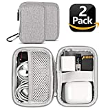 Earbuds Carrying Case, ASMOTIM EVA Hard Carrying Pouch Headphone Case Portable Earphone Case Pouch for Headset Charge Cable USB Key Tampon with Durable Exterior, Soft Cloth Inner(2 Pcs)
