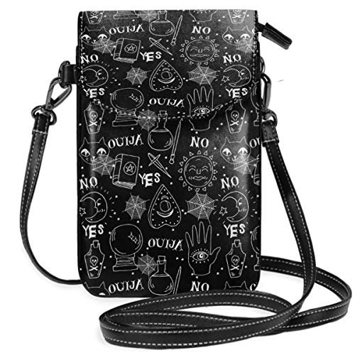 Small Cell Phone Purse Crossbody Cellphone Shoulder Bag Ouija Cute Halloween Pattern October Fall Themed Black White Smartphone Wallet Purse with Removable Strap]()