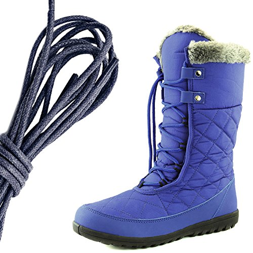 DailyShoes Womens Comfort Round Toe Mid Calf Flat Ankle High Eskimo Winter Fur Snow Boots, Navy Royal Blue