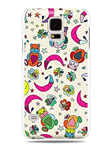 "GRÜV Premium Case - ""Teddy Bears Moon & Stars Cartoon Style Digital Art"" Design - Best Quality Designer Print on White Hard Cover - for Galaxy S5 i9600 G900 G900A G900T G900M, G900F"