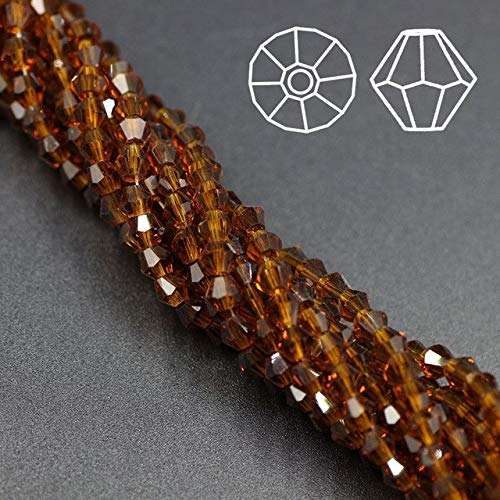 Calvas 4MM DIY Glass Beads Curtains Crystal Glass Bicone Beads (115PCS/LOT) Chunky Beads Boncuk Miyuki Beads Jewelry Wholesale - (Color: deep Amber)