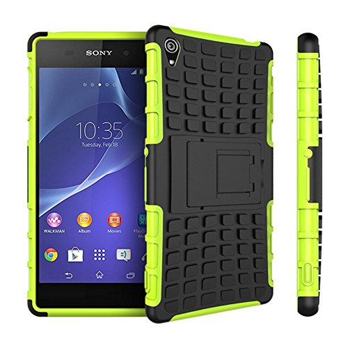 [SCIMIN] Sony Xperia Z3 Case, Heavy Duty Dual Layer Protection/Shockproof/Drop Resistance Hybrid Rugged Case Cover with Kickstand for Sony Xperia Z3 (Green) (Sony Xperia Z3 Belt Case)