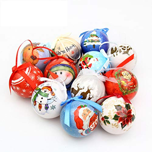 KKONION Cute Painted Foam Christmas Ball Shatterproof Hanging Decorations Mall Window Ornament for Party Decoration, Sending by Random]()