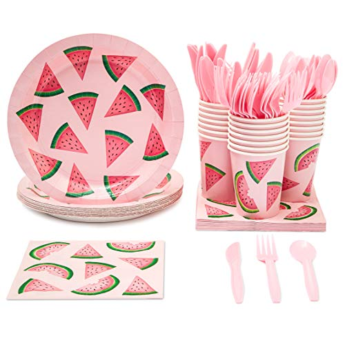 Juvale Watermelon Party Supplies for Summer, BBQs, Birthdays - Plates, Knives, Spoons, Forks, Napkins, and Cups, Pink/Green, Serves 24]()