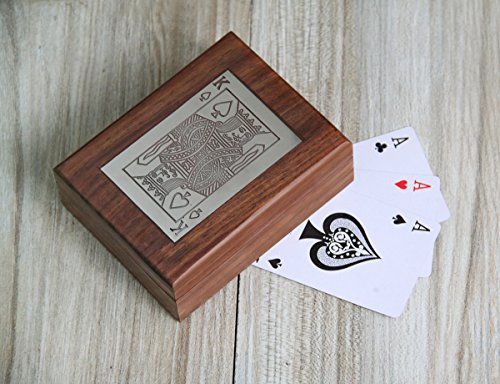 Christmas Gifts Single Deck Playing Cards Holder Standard Storage Box Handcrafted Wooden Case with Decorative King Spade Design for Kids Adults