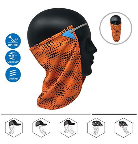 - CoolNES Neck or Face Sun Mask | 1 Product 2 Uses 1 Removable Universal Fit Headband with 1 Flap | Multifunctional Headwear 4 Season Performance | Cap | Hat | Bike Ski Helmet UPF 50 (CoolNES-Orange)