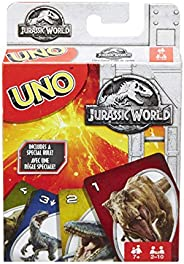 UNO Card Game, Jurassic World 2 Theme, for 2 to 10 Players Ages 7 Years and Older